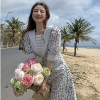 Dress Summer 2021 Broken flowers Average size longuette singleton  Short sleeve commute other High waist Broken flowers Socket A-line skirt puff sleeve Others 18-24 years old Type A Korean version