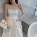 Dress Summer 2021 White, black Average size longuette singleton  Sleeveless commute One word collar High waist Solid color Socket A-line skirt other Others 18-24 years old Type A Korean version 8850# cotton