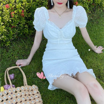 Dress Summer 2020 white S,M,L singleton  Short sleeve commute square neck High waist Solid color Socket puff sleeve 18-24 years old Korean version 273# 31% (inclusive) - 50% (inclusive)