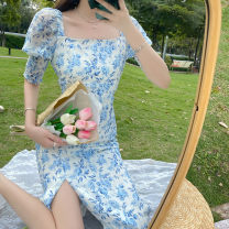 Dress Summer 2021 Square neck dress S,M,L Mid length dress singleton  Short sleeve commute square neck High waist Decor Socket One pace skirt other Others 18-24 years old Type A Korean version printing