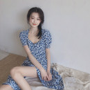 Dress Summer 2020 Picture color S,M,L Middle-skirt singleton  Short sleeve commute square neck High waist Broken flowers Socket A-line skirt other Others 18-24 years old Type A Korean version