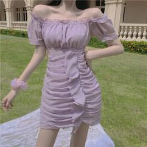 Dress Spring 2021 violet S,M,L Middle-skirt singleton  Short sleeve commute One word collar High waist Solid color other 18-24 years old Korean version 181#