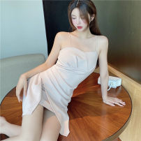 Dress Summer 2021 Picture color S,M,L Short skirt singleton  Sleeveless commute Crew neck High waist Solid color zipper One pace skirt routine camisole 18-24 years old Type A Korean version polyester fiber