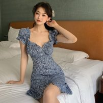 Dress Spring 2021 Picture color S,M,L Short skirt singleton  Short sleeve commute V-neck High waist Decor Socket One pace skirt Wrap sleeves Others 18-24 years old Type A Korean version printing
