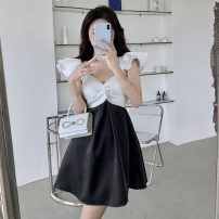 Dress Summer 2021 Picture color S, M Middle-skirt singleton  Short sleeve commute V-neck High waist other Socket A-line skirt Flying sleeve Others 18-24 years old Type A Korean version