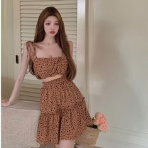 Fashion suit Summer 2021 Average size Sling, skirt 18-25 years old 2567#
