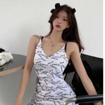 Dress Summer 2021 White, black Average size Middle-skirt singleton  Sleeveless commute V-neck High waist letter Socket One pace skirt other camisole 18-24 years old Type A Korean version Printing, chain