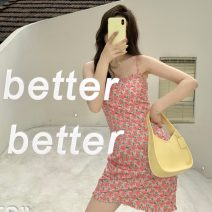 Dress Summer 2021 Pink flowers Average size Short skirt singleton  Sleeveless commute square neck High waist Decor Socket A-line skirt other camisole 18-24 years old Type A Korean version