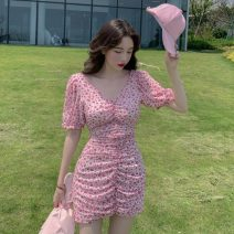 Dress Summer 2021 Floral Dress S, M Middle-skirt singleton  Short sleeve commute V-neck High waist Broken flowers Socket A-line skirt puff sleeve Others 18-24 years old Type A Korean version 9122# 31% (inclusive) - 50% (inclusive) Chiffon polyester fiber
