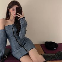 Dress Spring 2021 Denim dress S, M Short skirt singleton  Long sleeves commute square neck High waist Solid color Socket A-line skirt puff sleeve Others 18-24 years old Type A 9094# Korean version Lace 9094# 31% (inclusive) - 50% (inclusive) polyester fiber