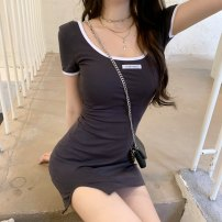 Dress Summer 2021 dark grey Average size Short skirt singleton  Short sleeve commute square neck High waist letter Socket One pace skirt routine Others 18-24 years old Type A Korean version 31% (inclusive) - 50% (inclusive)