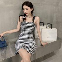Dress Summer 2021 Plaid skirt S, M Middle-skirt singleton  Sleeveless commute square neck High waist lattice zipper A-line skirt other camisole 18-24 years old Type H Korean version