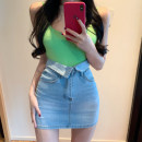 skirt Summer 2020 S,M,L blue Middle-skirt commute High waist 18-24 years old Other / other Korean version