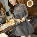 Women's large Spring 2019, spring 2020, winter 2020, autumn 2020, spring 2021 Gray, black Big XL, big XXL, big L, s, M Dress Fake two pieces commute easy moderate Socket Long sleeves Solid color Korean version High collar Medium length other routine 30-34 years old Diamond inlay