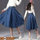 skirt Fall 2017 26, 27, 28, 29, 30, 31, 32, 33, 34, 36, 38, 40 navy blue Mid length dress Versatile High waist Denim skirt Solid color Type A 25-29 years old Denim cotton Pockets, rags, buttons