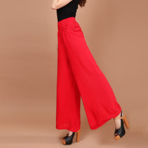 Casual pants Grey, green, black, rose, scarlet M,L,XL Summer 2017 trousers Wide leg pants High waist Other styles routine 40-49 years old 51% (inclusive) - 70% (inclusive) 929-9 hemp pocket