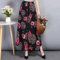 Casual pants 6, 17, 19, 25, 38, 802-16815-5815-8, 43, 802-15802-3802-9802-11802-19802-5, Xiaolong, 815-35815-38815-39815-36815-33815-34815-2815-13 XL,2XL,3XL,4XL,5XL Summer 2020 Ninth pants Wide leg pants High waist commute Thin money cotton ethnic style printing and dyeing cotton Asymmetry