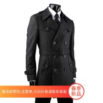 woolen coat Dark grey, grey Fsfulisidiy / fashion fristI Fashion City LS-74-4 Woolen cloth Medium length go to work Self cultivation youth Lapel double-breasted Exquisite Korean style Solid color Straight hem winter Hidden thread patch bag wool No iron treatment make a slit or vent