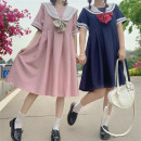 Dress Summer 2021 Navy, pink S,M,L,XL,2XL longuette singleton  Short sleeve Sweet Admiral High waist Solid color Socket A-line skirt routine Others 18-24 years old Type A Tagkita / she and others Bowknot, stitching Tongtong home 51% (inclusive) - 70% (inclusive) other polyester fiber solar system