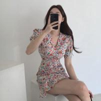 Dress Summer 2020 Red flower S,M,L Short skirt singleton  Short sleeve commute V-neck middle-waisted Broken flowers zipper A-line skirt Type A BEYONDIF Korean version
