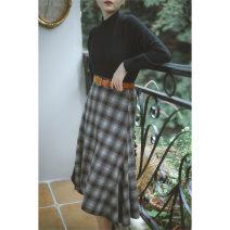 skirt Winter 2020 S,M,L Decor longuette commute Natural waist A-line skirt lattice Type A 25-29 years old polyester fiber zipper