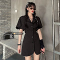 Women's large Summer 2021 black Size M (90-100kg), l (100-120kg), XL (120-140kg), 2XL (140kg-160kg), 3XL (160kg-180kg), 4XL (180kg-200kg) Dress singleton  commute Self cultivation moderate Cardigan Short sleeve Solid color Korean version other routine xz/yt Cloud service Museum Short skirt