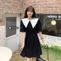 Dress Type A Summer 2021 Korean version Medium length skirt Short sleeve commute Double collar 18-24 years old routine other xz/jr