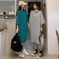 Dress Summer 2021 Grey, green Size M (90-100kg), l (100-120kg), XL (120-140kg), 2XL (140kg-160kg), 3XL (160kg-180kg), 4XL (180kg-200kg) singleton  Short sleeve commute Polo collar High waist Solid color routine 18-24 years old Korean version xz/yt 31% (inclusive) - 50% (inclusive)