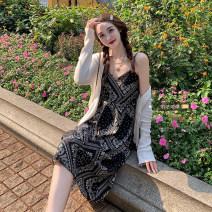 Women's large Summer 2021 Suspender skirt, knitted cardigan Size M (90-100kg), l (100-120kg), XL (120-140kg), 2XL (140kg-160kg), 3XL (160kg-180kg), 4XL (180kg-200kg) Dress Two piece set commute moderate Sleeveless Decor Korean version V-neck routine routine xz/yt 18-24 years old Medium length