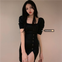 Dress Summer 2021 Black dress Size M (90-100kg), l (100-120kg), XL (120-140kg), 2XL (140kg-160kg), 3XL (160kg-180kg), 4XL (180kg-200kg) Middle-skirt singleton  Short sleeve commute square neck High waist Solid color Socket puff sleeve 18-24 years old Korean version xz/yt polyester fiber