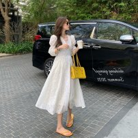 Dress Summer 2021 White, purple M【90-100】,L【100-120】,XL【120-140】,2XL【140-160】,3XL【160-180】,4XL【180-200】 longuette singleton  Long sleeves commute V-neck Broken flowers puff sleeve 18-24 years old Korean version Lace stitching other