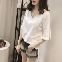 T-shirt White, khaki, army green M [80-100 Jin], l [100-115 Jin], XL [115-130 Jin], 2XL [130-150 Jin], 3XL [150-170 Jin], 4XL [170-200 Jin] Summer of 2019 Short sleeve V-neck easy Medium length routine commute cotton 71% (inclusive) - 85% (inclusive) 18-24 years old Korean version