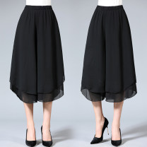 Middle aged and old women's wear Summer 2020 black XL [90-105 Jin recommended], 2XL [105-120 Jin recommended], 3XL [120-135 Jin recommended], 4XL [135-150 Jin recommended], 5XL [150-165 Jin recommended] leisure time trousers easy singleton  other 40-49 years old moderate New European clothes Chiffon