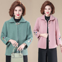 Middle aged and old women's wear Spring 2021, autumn 2021 Green, apricot, pink XL [recommended 85-100 kg], 2XL [recommended 100-115 kg], 3XL [recommended 115-130 kg], 4XL [recommended 130-145 kg], 5XL [recommended 145-160 kg] fashion Jacket / jacket Self cultivation singleton  other 40-49 years old