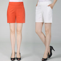 Middle aged and old women's wear Summer 2020 White, khaki, black, Navy, orange XL [recommended 95-110 kg], 2XL [recommended 110-125 kg], 3XL [recommended 125-145 kg] fashion trousers Self cultivation singleton  Solid color 40-49 years old thin Mm15-1819 elastic cotton linen quarter shorts pocket