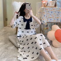 Pajamas / housewear set female Other / other M,L,XL,XXL CX 22013-1# cotton Short sleeve Sweet pajamas summer Thin money square neck other Socket youth one-piece garment modal  printing longuette
