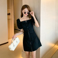 Dress other Summer 2021 Medium length skirt Short sleeve singleton  commute Solid color square neck High waist zipper A-line skirt puff sleeve 51% (inclusive) - 70% (inclusive) other Type A 2105D26 Korean version puff sleeve Little mosquito S,M