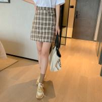 skirt Spring 2021 S,M,L,XL Yellow brown, blue black Short skirt commute High waist skirt lattice Type A E03050020 51% (inclusive) - 70% (inclusive) polyester fiber zipper Korean version