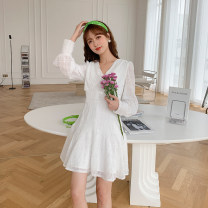 Dress Spring 2021 White, light green M, L Mid length dress singleton  Long sleeves commute V-neck High waist Solid color zipper A-line skirt routine Type A H0324085 51% (inclusive) - 70% (inclusive) polyester fiber
