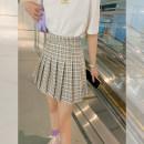 skirt Spring 2021 S,M,L,XL Short skirt commute High waist A-line skirt lattice Type A 51% (inclusive) - 70% (inclusive) other Button Korean version