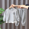 suit Chao Bao Liang Bei Light grey, pink 80cm,90cm,100cm,110cm,120cm,130cm neutral spring and autumn leisure time Long sleeve + pants 2 pieces routine No model Socket nothing Solid color cotton children Expression of love Class B Cotton 92% polyester 8% Chinese Mainland Zhejiang Province Huzhou City