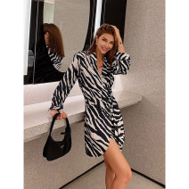 Dress Autumn 2020 Zebra, zebra (7 working days delivery), zebra (year after delivery) XS,S,M,L Short skirt singleton  Long sleeves street V-neck High waist stripe Single breasted routine 25-29 years old Type A NDZ printing Chiffon polyester fiber Europe and America