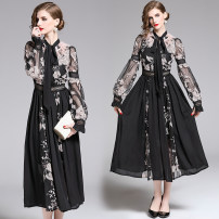 Dress Autumn of 2019 Decor S,M,L,XL,2XL longuette singleton  Long sleeves street stand collar middle-waisted Socket Big swing bishop sleeve 25-29 years old Lace, embroidery, zipper C6570 31% (inclusive) - 50% (inclusive) Europe and America