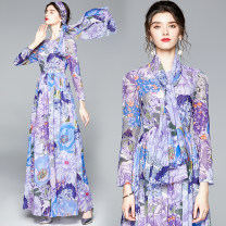 Dress Summer 2020 blue S,M,L,XL,XXL longuette singleton  Long sleeves street Crew neck middle-waisted Decor zipper Big swing routine 25-29 years old printing Europe and America