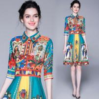 Dress Summer of 2019 Malachite blue Middle-skirt elbow sleeve street Polo collar High waist Big swing Type A