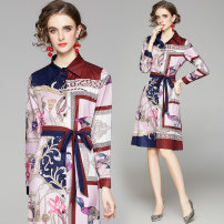 Dress Spring 2021 Picture color M,L,XL,2XL longuette singleton  Long sleeves street Polo collar middle-waisted Decor Single breasted Pleated skirt shirt sleeve Hanging neck style 25-29 years old Type H 31% (inclusive) - 50% (inclusive) brocade polyester fiber Europe and America