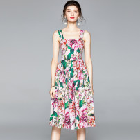 Dress Summer 2020 Pink S,M,L,XL,XXL longuette singleton  Sweet middle-waisted zipper Cake skirt camisole 25-29 years old printing 51% (inclusive) - 70% (inclusive) Ruili