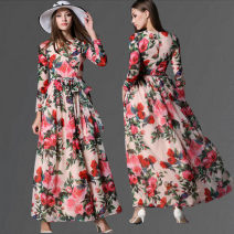 Dress Spring 2017 Picture color S,M,L,XL longuette singleton  Long sleeves street Crew neck middle-waisted Decor Socket Big swing routine Others Type A printing 8-9239# 31% (inclusive) - 50% (inclusive) Chiffon polyester fiber