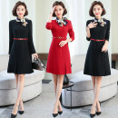 Dress Autumn of 2019 Black, red S,M,L,XL,2XL,3XL Short skirt singleton  Long sleeves commute stand collar middle-waisted Solid color zipper A-line skirt routine Others Type A 91% (inclusive) - 95% (inclusive)