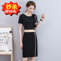 Dress Summer 2020 black S,M,L,XL,2XL Miniskirt singleton  Short sleeve commute Crew neck High waist Solid color zipper Pencil skirt routine Others Type H Korean version Lotus leaf edge 31% (inclusive) - 50% (inclusive) other nylon